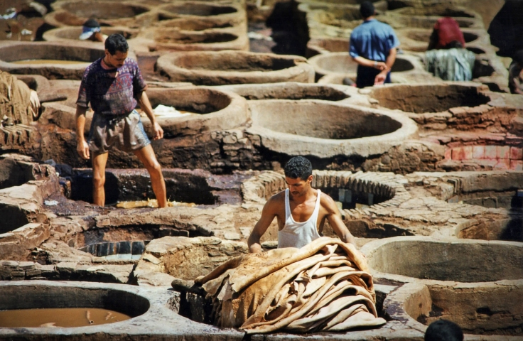 Leather tanning in Fez, Morroco (1997). This is the oldest leather tannery in the world and still uses methods dating back to the 11th century.