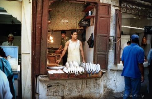 Fez fishmonger, Morocco, 1997