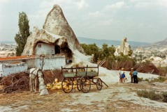 Horse and cart outside cave home near Gorem, Cappadocia, Turkey - 1992