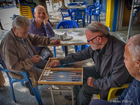 A game of Backgammon near the border with North Cyprus